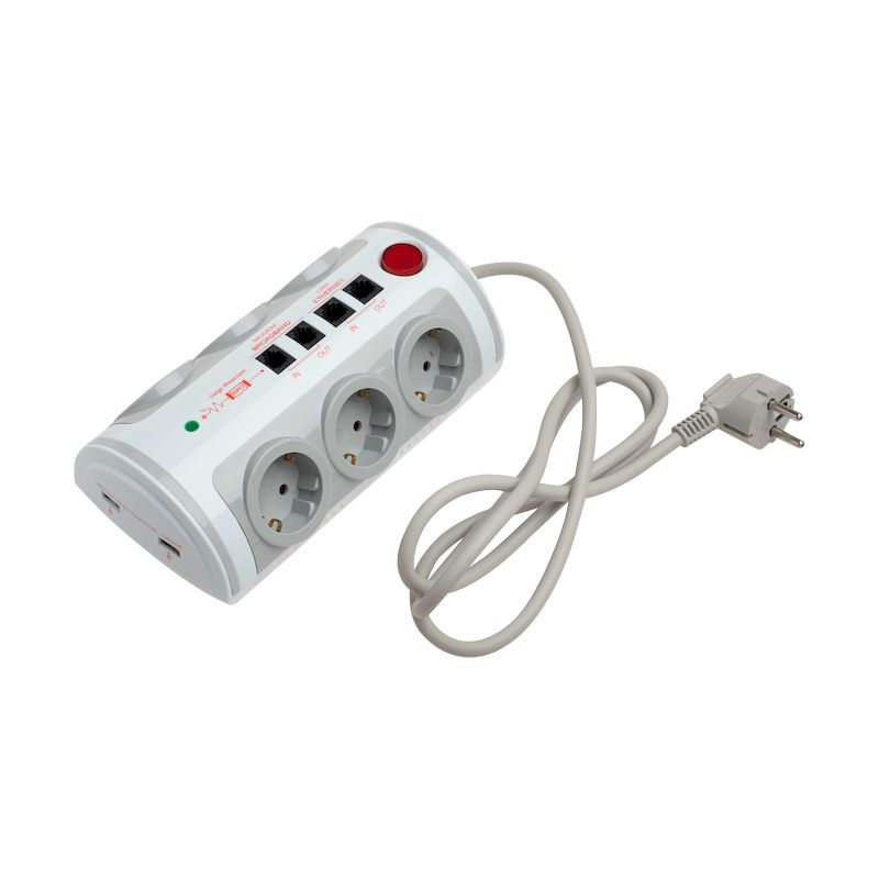 Πολύπριζο 6 θέσεων με διακόπτη 2 USB 1A