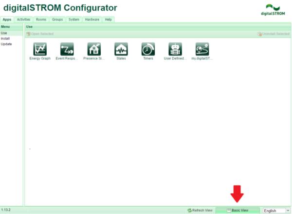 Αρχική οθόνη digitalSTROM Configurator