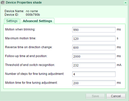 Shade properties Advanced Settings GR-KL200