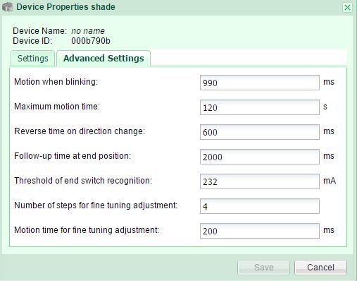 Shade properties Advanced Settings GR-KL200