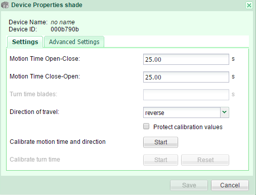 Shade properties Settings GR-KL200