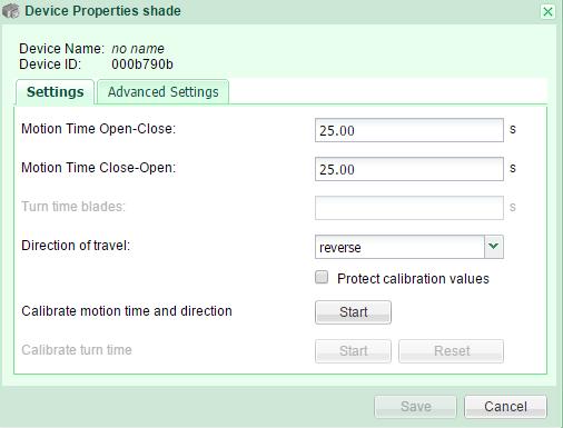 Shade properties Settings GR-KL200